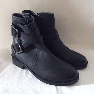ASOS Black Leather Moto Ankle Boots 7